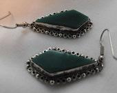 Mexican Green Keystone Sterling Earrings