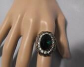 Uncas style Emerald Green Rhinestone Adjustable Ring