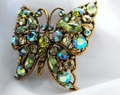 RESERVED FOR MARK eXPRESS shipping Regency Green Blue Butterfly Rhinestone Pin