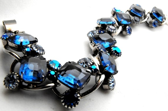 Rare D and E for Weiss Sapphire Blue Crystal Lozenge Bracelet