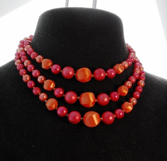 Triple Strand Red Pink Coral Necklace
