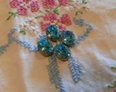 Vintage Swarovski Aqua Rhinestone Foiled Glass Jewels 12x10 Ovals Brass Settings