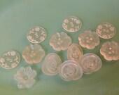 Vintage Buttons Clear Flowers Rounds Shapes Destash Baker's Dozen