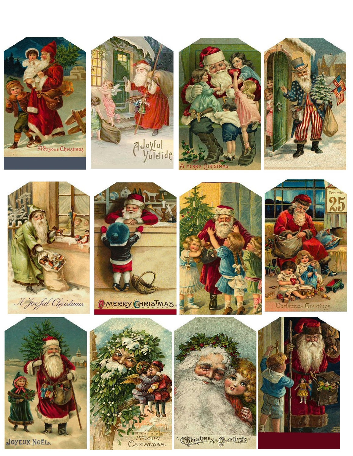 Vintage Christmas Hang Tags Printable Collage by specialhangtags