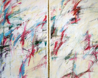 2-29-12 set of two (abstract painting, cream, magenta red. white, blue. green)