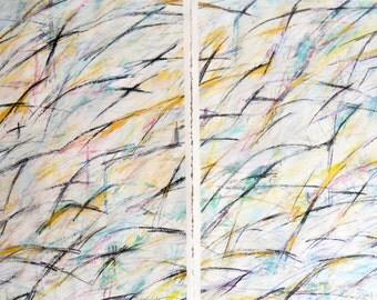 3-16-12  set of two (abstract painting, black., white, yellow, gold, blue, green)