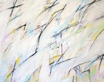 Untitled 4-19-12, (abstract painting, pastel, white, pink,  yellow, blue, green)