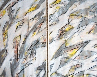 4-23-12 set of two (abstract, yellow, white, yellow, silver, black)