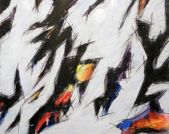Study 4-28-12, (abstract painting, black, white, yellow, cream, red)