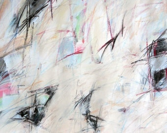 Study For On the Street,  5-3-12,  (abstract painting, pastel, white, gray, cream, silver, pink, blue, green)