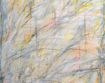 Untitled, 6-13-12, two, (abstract painting, black, pastel, white, gray, cream, silver, yellow)