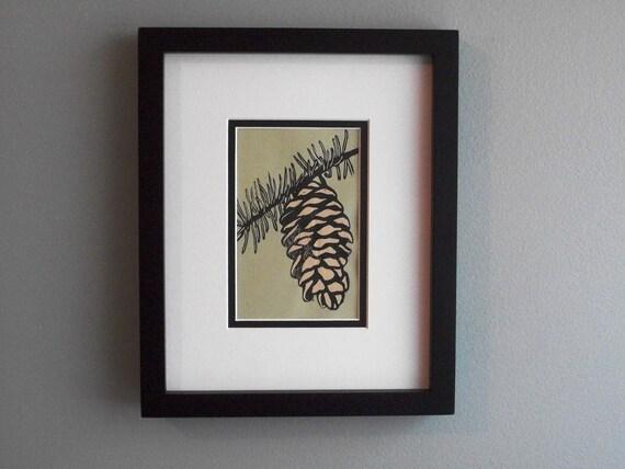Pine Cone- Original Linocut Print