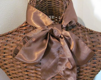 Solid Brown Silky Skinny Scarf - 3 x 60 Long
