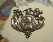 St. Joan of Arc     Rosary Center Bronze    French Antique Replica