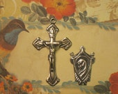 Sterling Silver Deco Rosary Crucifix & Center Set