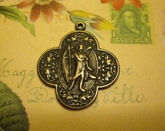 Antique Bronze St. Raphael the Archangel Medal
