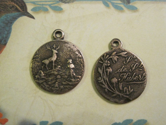 St. Hubert with Stag  Bronze French Style Religious Medal