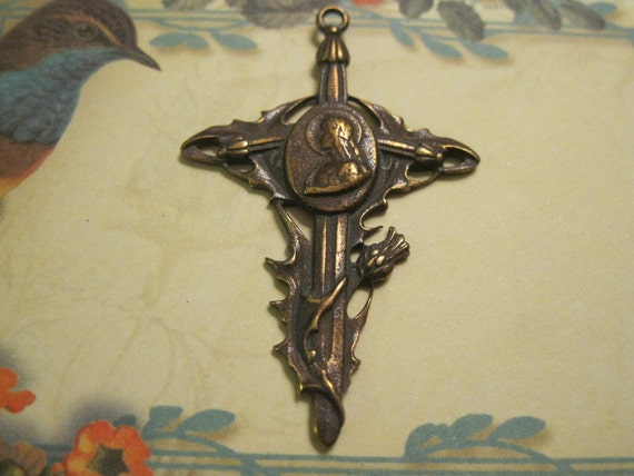 Bronze French Joan of Arc Thistle Cross