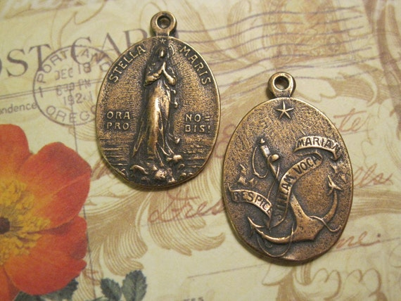 Stella Maris, Our Lady Star of the Sea   Religious Medal  Antique Bronze