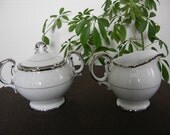 Vintage, Ceramic White With Silver Trim Sugar Bowl And Creamer, Fine China, Harmony House, Silver Sonata