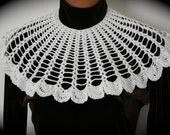 On Sale - Vintage 1980's, Handmade Ladies Crochet Collar, White With Mother of Pearl Buttons - Free Shipping - REDUCED PRICE