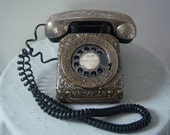 Vintage 1960's, Retro Telephone, Black With Antique Looking, Silver Plated Cover - REDUCED PRICE