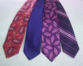 "Vintage1980's Men's Neckties,  Lot of (4) Four,  Retro Men's Ties, ""Sears,"" ""Royal Knight,"" ""Old River Natural Wave"""