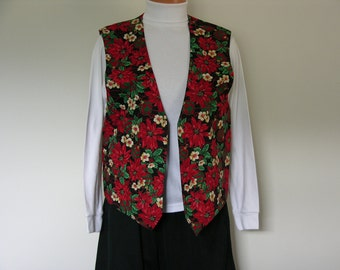 Handmade Vintage Ladies Christmas Holiday Vest , Holly and Chrysanthemum with Christmas Ball Ornaments , Ladies Size Medium