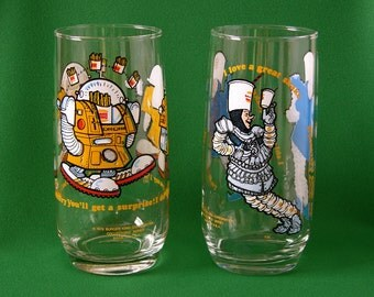 Vintage 1979 Collectable Burger King Glasses, Sir Shake-A-Lot And Wizard Of Fries, Gift Item, Set Of Two (2) Glasses, Made In USA