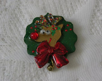 Vintage Christmas Pin, Handmade Rudolph Red Nose Reindeer Wearing Green Wreath, Red Bow and Tiny Bell - FREE SHIPPING