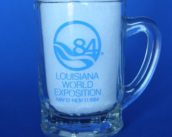 Vintage, Collectable, Miniature Glass Mug, 84 Louisiana World Exposition, May 12 - Nov 11, 1984