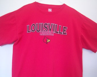 Vintage 1990, Louisville Cardinals T-shirt, Red 100% Cotton T-shirt, Red Oak Sportswear, Collectable T-shirt, Gift Item, Size Large