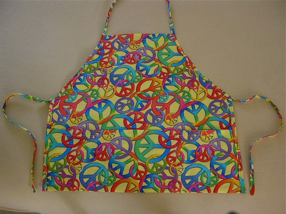 Handmade Childs Apron, Toddlers Apron, Smock, Bright Multi Colored, Peace Signs, For Little Boys Or Girls, Free Shipping - REDUCED PRICE