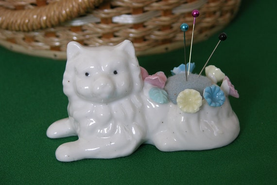 Vintage Ceramic Persian Cat Pin Cushion With Pastel Flowers, 1970's Collectable, Decorative, Gift Item, Vintage Sewing Supplies