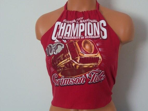 Handmade, Recycled T-Shirt, Ladies Halter Top, Alabama Football National Champions, Crimson Tide Football, Reconstructed T-Shirt