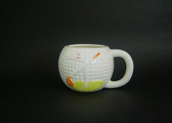 Reserved For Grace - Vintage, 70's Ceramic Golf Ball Shaped Mug With Golf Club On The Sides