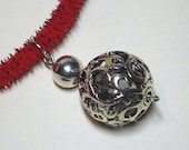 Necklace for Pet, Cat, or Small Dog: Filigree Style Sphere Pendant with Silvertone Findings on a Glittery Red Chenille Stem (Pipecleaner)