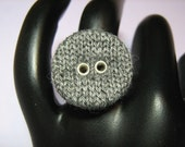 Ring: Gray Knit Button on an Adjustable Silvertone Metal Ring Base - Hypo-Allergenic, Nickel Free