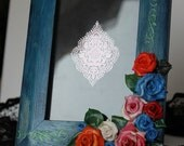 Cyber Monday Sale Navy Blue Picture Frame With Roses