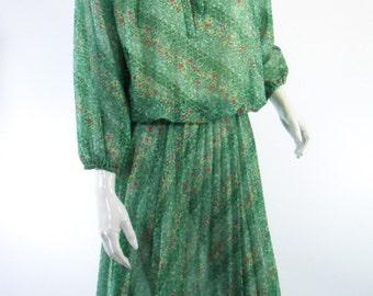 70s Green Floral Boho Hippie Day Dress - sm, med, lg
