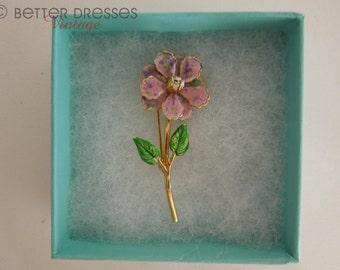 Vintage Enamel Flower Brooch. Pinks and Purples.
