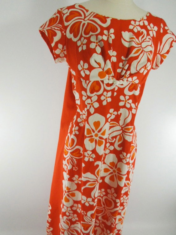 Vintage 60s 70s Hawaiian Dress Holomu'u Orange Hibiscus Print - sm, med