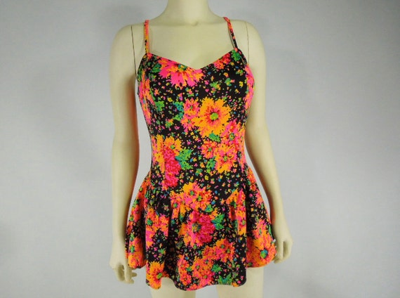 60s 70s Skirted Swimsuit in Black with Neon Floral - medium