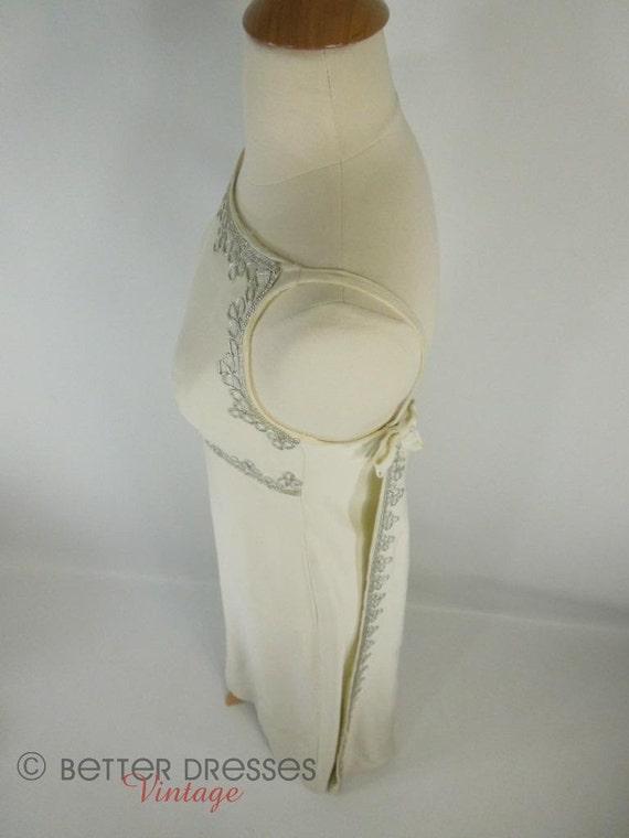 60s Watteau Back Ivory Wedding Dress With Silver Trim - sm
