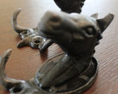 RESERVED for Marianne Vintage Black Cast Iron Horse Head Hooks