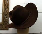Vintage Beaver Hats Brand Cowboy Hat 10x Quality Fur Felt Cowboy Hat Cowgirl Hat Dark Brown Cowboy Hat