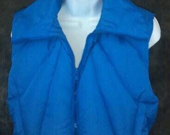Vintage Puffy Ski Vest Blue Medium Grey Goose Down Womens Small Med