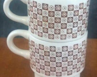Retro flower coffee mugs