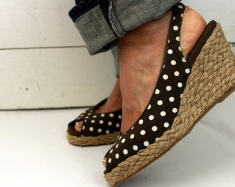 Vintage Polka Dot Rockabilly Peep Toe  Jute Wedges   8.5 Chocolate Brown