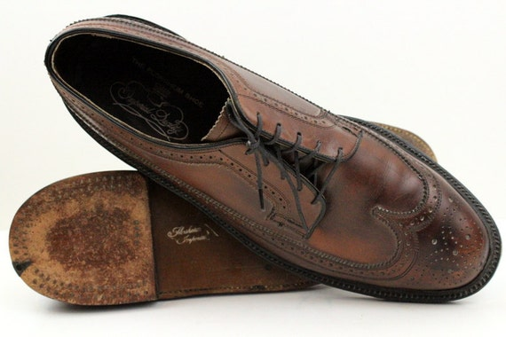 Vintage Florsheim Imperial V Cleat  Brown Oxford Wingtip Leather Shoes 10.5